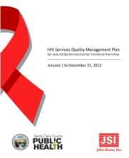 HIV Services Quality Management Plan: San Jose, CA TGA (Santa Clara County)