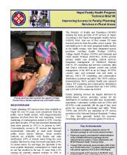 View details: NFHP Technical Brief 6: Improving Access to Family Planning in Services in Rural Areas