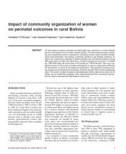 View details: Impact of Community Organization of Women on Perinatal Outcomes in Rural Bolivia