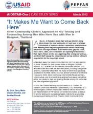View details: 'It Makes Me Want to Come Back Here': Silom Community Clinic's Approach to HTC Among MSM in Thailand