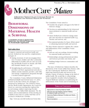 MotherCare Matters Vol. 9 No. 3: Behavioral Dimensions of Maternal Health & Survival