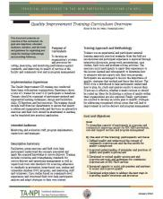 View details: Quality Improvement Training Curriculum Overview