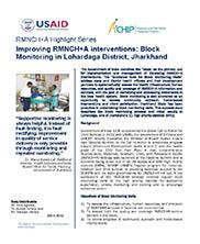 View details: Improving RMNCH+A interventions: Block Monitoring in Lohardaga District, Jharkhand
