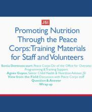 View details: Promoting Nutrition through the Peace Corps: Training Materials for Staff and Volunteers