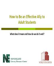 View details: Webinar: How to Be an Effective Ally to Adult Students