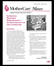 MotherCare Matters. Vol. 9 No. 2: Improving Provider Performance - An Exploration of the Literature