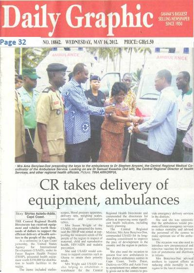 Frhp S Donation Is Featured In Ghanaian Newspaper The Daily Graphic