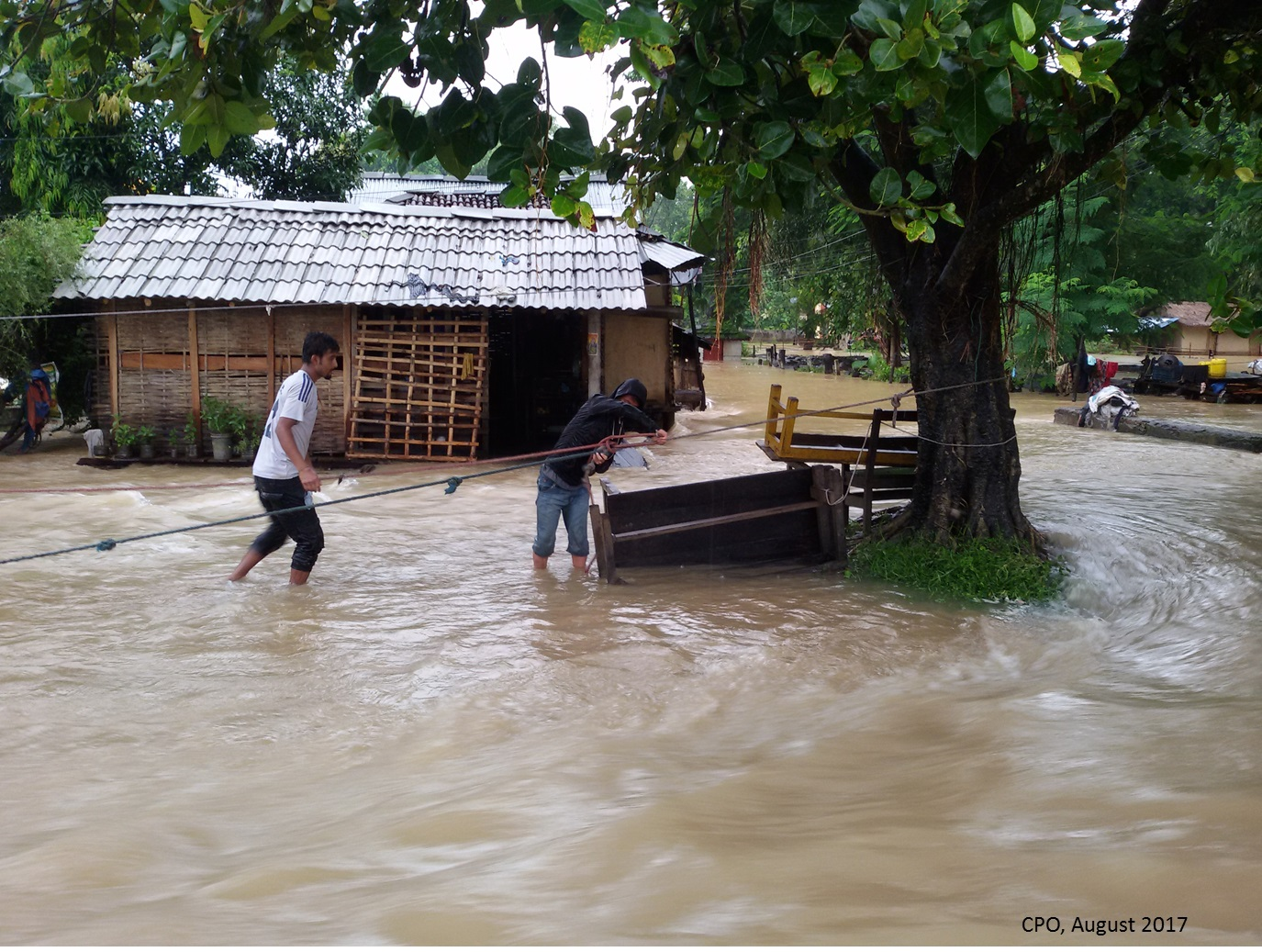Photo of flooding in Sarlahi, Nepal via the Child Protection Organization, a World Education partner.