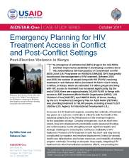 View details: Emergency Planning for ART Access in Conflict and Post-Conflict Settings: Post-election Violence in Kenya