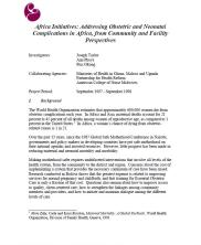 View details: Africa initiatives: Addressing obstetric and neonatal complications in Africa from community and facility perspectives: Descriptive reports from Ghana, Malawi, and Uganda