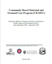 community-based maternal and neonatal care: summative report