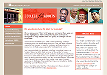 Thumbnail of the collegeforadults.org home page