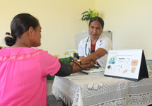 With training made possible by JSI, Fatumea Health Center Midwife Vitorina provides family planning counseling for a mother in Covalima Municipality.