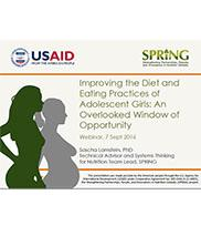 View details: Improving the Diet and Eating Practices of Adolescent Girls: An Overlooked Window of Opportunity